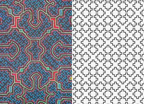 Left: Shipibo textile design & Right: Space-filling curve